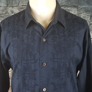 Tommy Bahama Shirts - Tommy Bahama Navy Embroidered XXL Shirt
